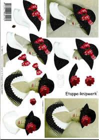 3D Bogen Dame+Hut schwarz - Format A4
