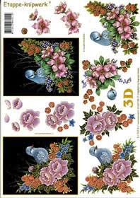 3D Bogen V?gel auf Blumen - Format A4