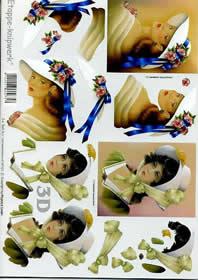 3D Bogen Frauen+Hut+Schleife - Format A4