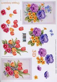 3D Bogen Tulpen + Anemonen - Format A4