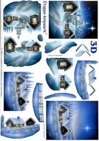 3D Bogen Schneehäuser blau - Format A4