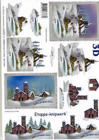 3D Bogen Kirche im Schnee - Format A4