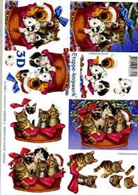 3D Bogen Weihnachtshund + Katze - Format A4
