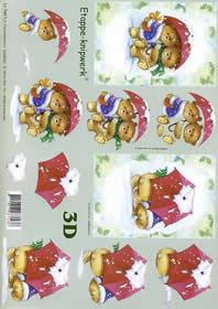 3D Bogen Weihnachtsbären - Format A4