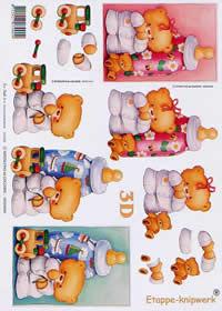 3D Bogen Baby Bär+Flasche - Format A4
