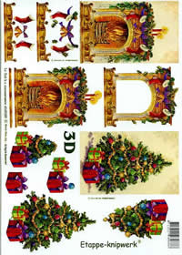 3D Bogen Weihnachtskamin - Format A4