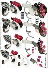 3D Bogen Dame+Hut (schwarz) - Format A4