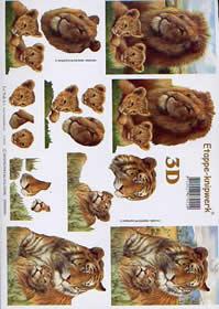 3D Bogen Tiger + Löwe - Format A4