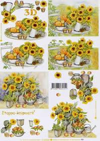 3D Bogen Sonnenblumen - Format A4