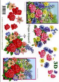 3D Bogen Blumen / Landhaus - Format A4