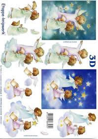 3D Bogen Engel auf Wolke - Format A4