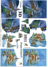 3D Bogen Dorf im Schnee - Format A4