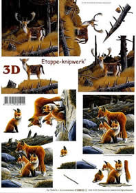 3D Bogen Hirsch + Füchse - Format A4