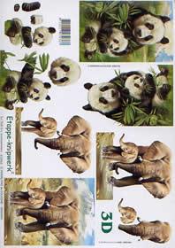 3D Bogen Panda + Elefant - Format A4
