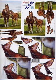 3D Bogen Pferde - Format A4