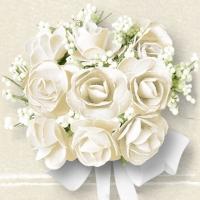 Servietten 25x25 cm - Weiße Rosen
