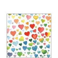 Servietten 25x25 cm - Farbenfrohe Herzen Mischung