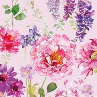 Servietten 25x25 cm - Rosa Rosen Flieder