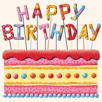 Servietten 25x25 cm - Birthday Cake