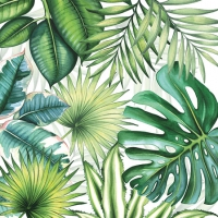 Servietten 25x25 cm - Tropical Leaves White