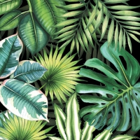 Servietten 25x25 cm - Tropical Leaves Black
