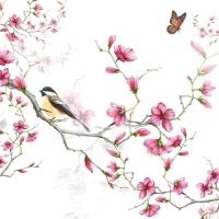 Servietten 25x25 cm - Bird & Blossom White
