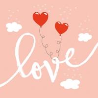 Servietten 25x25 cm - Love Balloons Pale Rose