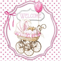 Servietten 25x25 cm - Welcome pink