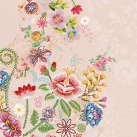 Servietten 25x25 cm - Embroidery Flowers Rose