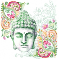 Servietten 25x25 cm - Buddha Head Green