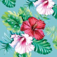 Servietten 25x25 cm - Hibiskus Blumen Petrol