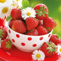 Servietten 25x25 cm - Erdbeeren in der Schale