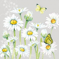 Servietten 25x25 cm - Daisy Grey