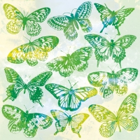 Servietten 25x25 cm - Aquarell Butterflies Green