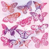 Servietten 25x25 cm - Aquarell Butterflies Pink