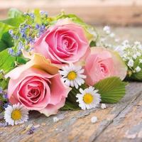 Servietten 25x25 cm - Roses Pink
