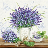 Servietten 33x33 cm - Lavender Scene Cream