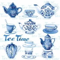 Servietten 33x33 cm - Tea Moments Blue