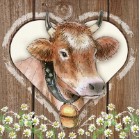 Servietten 33x33 cm - Cow in Heart