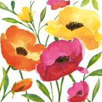 Servietten 33x33 cm - Aquarell Poppy