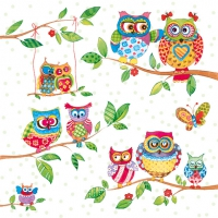 Servietten 33x33 cm - Owls In Summerland