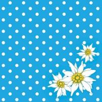 Servietten 33x33 cm - Edelweiß Punkte Blau