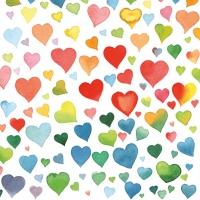 Servietten 33x33 cm - Colourful Hearts Mix