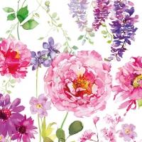 Servietten 33x33 cm - Pink Roses White