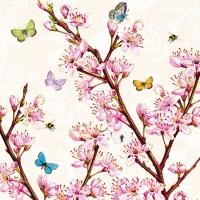 Servietten 33x33 cm - Blütencreme