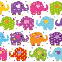 Servietten 33x33 cm - Lustige Elefanten