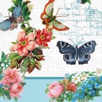 Servietten 33x33 cm - Blumen und Schmetterlinge