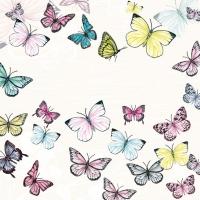 Servietten 33x33 cm - Schmetterling Weiß
