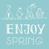 Servietten 33x33 cm - Enjoy Spring Aqua