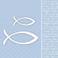 Servietten 33x33 cm - Glaube Fisch Blue